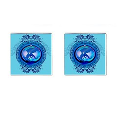 The Blue Dragpn On A Round Button With Floral Elements Cufflinks (square) by FantasyWorld7
