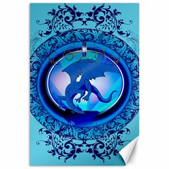 The Blue Dragpn On A Round Button With Floral Elements Canvas 24  X 36  by FantasyWorld7