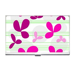 Magenta Floral Pattern Business Card Holders by Valentinaart