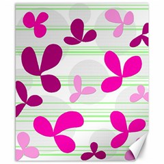 Magenta Floral Pattern Canvas 8  X 10  by Valentinaart