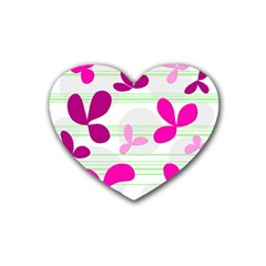 Magenta Floral Pattern Rubber Coaster (heart)  by Valentinaart