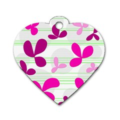 Magenta Floral Pattern Dog Tag Heart (two Sides) by Valentinaart