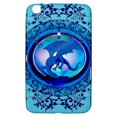 The Blue Dragpn On A Round Button With Floral Elements Samsung Galaxy Tab 3 (8 ) T3100 Hardshell Case  by FantasyWorld7