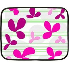 Magenta Floral Pattern Double Sided Fleece Blanket (mini)  by Valentinaart