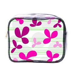 Magenta Floral Pattern Mini Toiletries Bags by Valentinaart