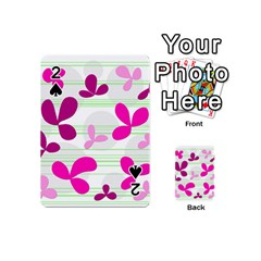 Magenta Floral Pattern Playing Cards 54 (mini)  by Valentinaart