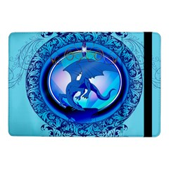 The Blue Dragpn On A Round Button With Floral Elements Samsung Galaxy Tab Pro 10 1  Flip Case by FantasyWorld7