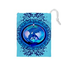 The Blue Dragpn On A Round Button With Floral Elements Drawstring Pouches (medium)  by FantasyWorld7
