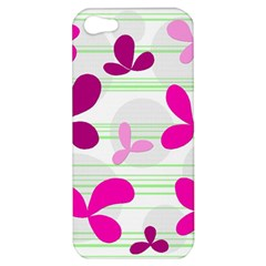 Magenta Floral Pattern Apple Iphone 5 Hardshell Case by Valentinaart