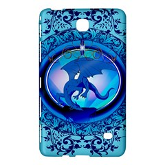 The Blue Dragpn On A Round Button With Floral Elements Samsung Galaxy Tab 4 (8 ) Hardshell Case  by FantasyWorld7