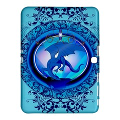 The Blue Dragpn On A Round Button With Floral Elements Samsung Galaxy Tab 4 (10.1 ) Hardshell Case  by FantasyWorld7