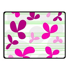 Magenta Floral Pattern Double Sided Fleece Blanket (small)  by Valentinaart