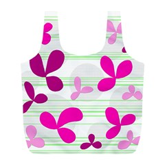 Magenta Floral Pattern Full Print Recycle Bags (l)  by Valentinaart