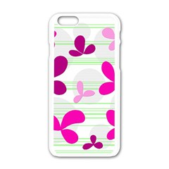 Magenta Floral Pattern Apple Iphone 6/6s White Enamel Case by Valentinaart