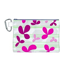 Magenta Floral Pattern Canvas Cosmetic Bag (m) by Valentinaart