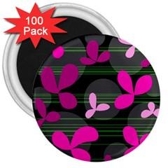 Magenta Floral Design 3  Magnets (100 Pack) by Valentinaart