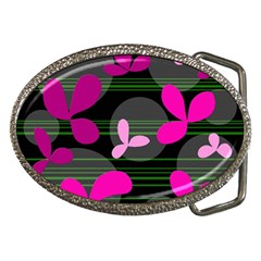 Magenta Floral Design Belt Buckles by Valentinaart