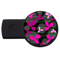 Magenta Floral Design Usb Flash Drive Round (2 Gb)  by Valentinaart