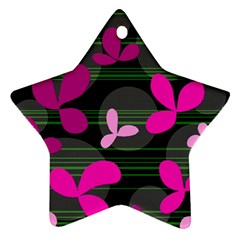 Magenta Floral Design Star Ornament (two Sides)  by Valentinaart