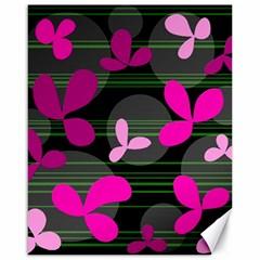 Magenta Floral Design Canvas 16  X 20   by Valentinaart