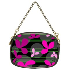 Magenta Floral Design Chain Purses (one Side)  by Valentinaart