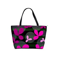 Magenta Floral Design Shoulder Handbags by Valentinaart