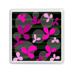 Magenta floral design Memory Card Reader (Square)  by Valentinaart