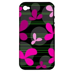 Magenta Floral Design Apple Iphone 4/4s Hardshell Case (pc+silicone) by Valentinaart