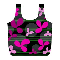 Magenta Floral Design Full Print Recycle Bags (l)  by Valentinaart