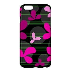 Magenta Floral Design Apple Iphone 6 Plus/6s Plus Hardshell Case by Valentinaart