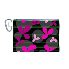 Magenta Floral Design Canvas Cosmetic Bag (m) by Valentinaart