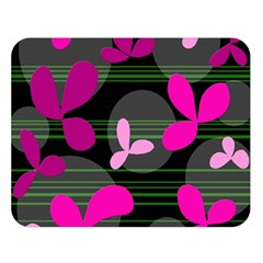 Magenta Floral Design Double Sided Flano Blanket (large)  by Valentinaart