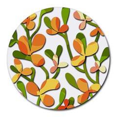 Decorative Floral Tree Round Mousepads by Valentinaart