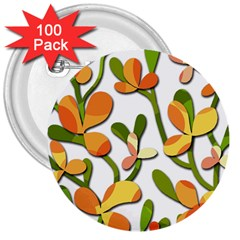 Decorative Floral Tree 3  Buttons (100 Pack)  by Valentinaart