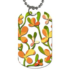 Decorative Floral Tree Dog Tag (two Sides) by Valentinaart