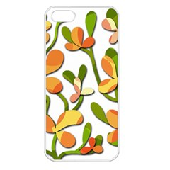 Decorative Floral Tree Apple Iphone 5 Seamless Case (white) by Valentinaart