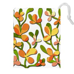 Decorative Floral Tree Drawstring Pouches (xxl) by Valentinaart