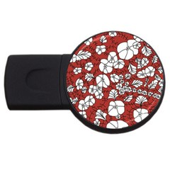 Cvdr0098 Red White Black Flowers Usb Flash Drive Round (2 Gb)  by CircusValleyMall
