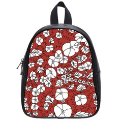 Cvdr0098 Red White Black Flowers School Bags (small)  by CircusValleyMall
