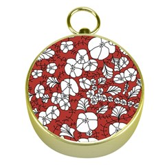 Cvdr0098 Red White Black Flowers Gold Compasses by CircusValleyMall