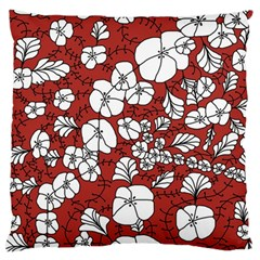 Cvdr0098 Red White Black Flowers Standard Flano Cushion Case (Two Sides) by CircusValleyMall