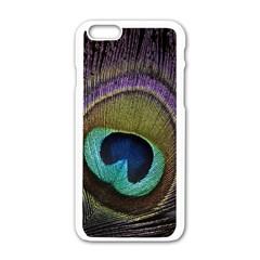 Peacock Feather Apple iPhone 6/6S White Enamel Case