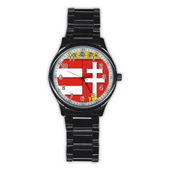 Medieval Coat Of Arms Of Hungary  Stainless Steel Round Watch