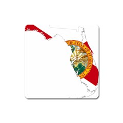 Flag Map Of Florida Square Magnet