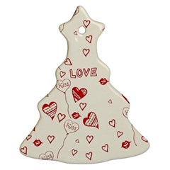 Pattern Hearts Kiss Love Lips Art Vector Ornament (Christmas Tree) by Zeze