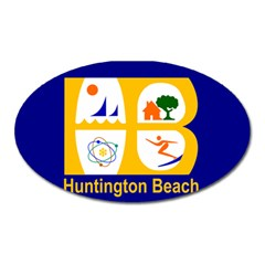Flag Of Huntington Beach, California Oval Magnet by abbeyz71