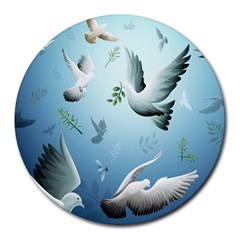 Animated Nature Wallpaper Animated Bird Round Mousepads by AnjaniArt