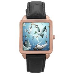 Animated Nature Wallpaper Animated Bird Rose Gold Leather Watch  by AnjaniArt