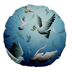 Animated Nature Wallpaper Animated Bird Large 18  Premium Flano Round Cushions by AnjaniArt