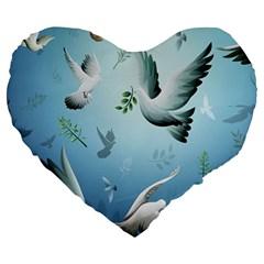 Animated Nature Wallpaper Animated Bird Large 19  Premium Flano Heart Shape Cushions by AnjaniArt